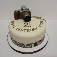Vintage camera cake with edible images