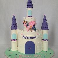My little pony castle birthday cake