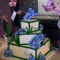 Blue Moth Orchid Wedding Cake