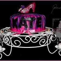 Pink and Purple Zebra Stripe Diva Fondant Shoe Cake