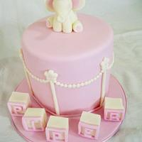 Elephant topper christening cake