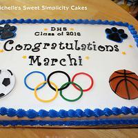 Special Olympics Themed Graduation Cake