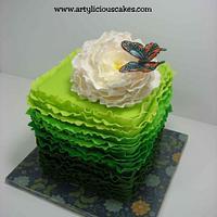 green ruffle cake
