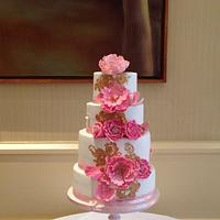 4 tier white/pink wedding  cake