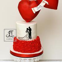 Valentines Wedding Gravity Defying Hearts