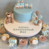Bear and Train Christening cake