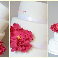 Modern wedding cake with lace and pink by Emmy
