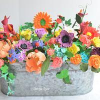 Sugar flowers in a vase