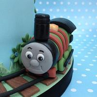 Percy Engine two tiered cake  by Charmaine