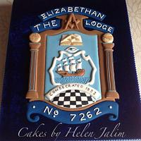 The Elizabethan Lodge Cake and plaque