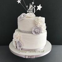 Elegant White and Grey Cake