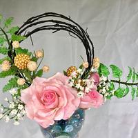Roses, fern, baby breath