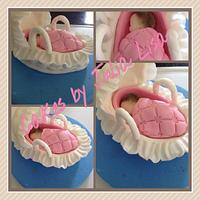Baby in moses basket topper
