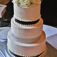Crystal and Navy buttercream wedding cake