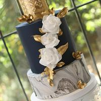 Marble Cake with White Roses
