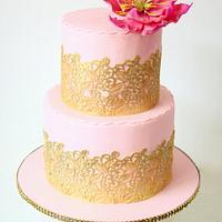 Pink n Gold Wedding Cake