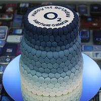O2 Corporate Ombre Birthday Cake
