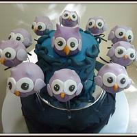 owl cake and owl cake pops