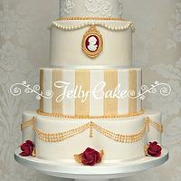 Vintage Red and Gold Wedding Cake