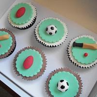 Sport Themed Cupcakes by Sarah