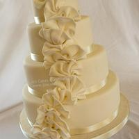 4 tier Ivory Ruffles Wedding Cake