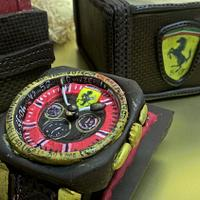 chocolate watch in a chocolate box with hot chili candies