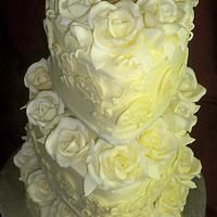 3 tier white heart chocolate wedding cake
