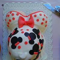 Pregnant belly cake with MINNIE MOUSE theme