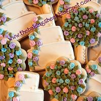 Wedding Cake & Bridal Bouquet Cookies