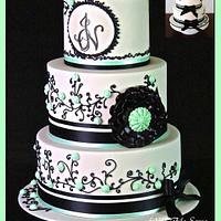 Ivory and Black wedding cake.