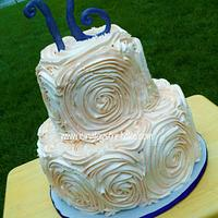 Large Buttercream Rose 2 Tier Cake
