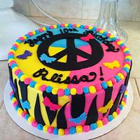 neon peace cake by Christie's Custom Creations(CCC)