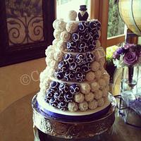 Purple and Ivory Cake Ball Cake