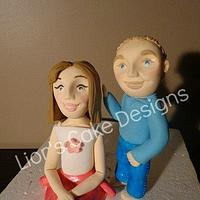Brother and sister toppers by Lior's Cake Designs
