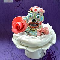 skull caketopper with roses