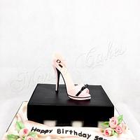 Shoe on a shoebox birthday cake