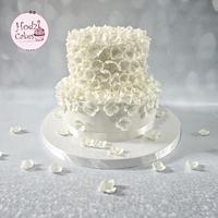 White Floral Engagement Cake