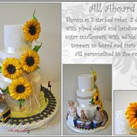 """All aboard"" wedding cake"