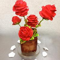 Hand-Piped Red-Roses