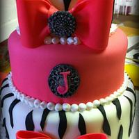 Zebra Print and Bow Cake