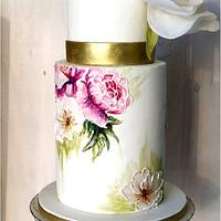 "Glacê Painting Style - ""Painted Wedding Cake with wafer paper Rose"""