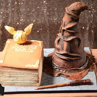 Harry Potter cake - The Book of Spells & The Sorting Hat