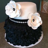 Black and White Petal 2 Tier Cake