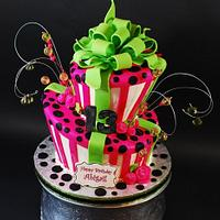 Whimsical Topsy Turvy Birthday Cake