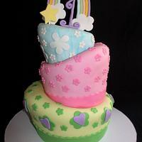 Rainbow Topsy Turvy Cake