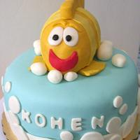Children's Cake with Fish Topper by cakediva3
