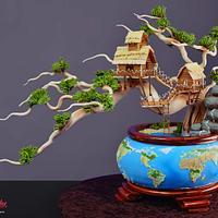 Earth Day Bonsai Tree Cake