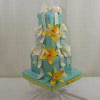 Sugar Orchids on a Tiffany Box Cake