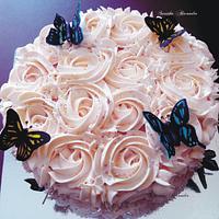 Butterfly rosette cake