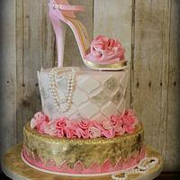 Pink Shoe and Gold Cake